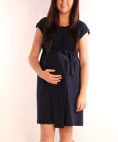 Take a look at this Navy Easy Tie Maternity & Nursing Dress by Japanese Weekend on #zulily today!