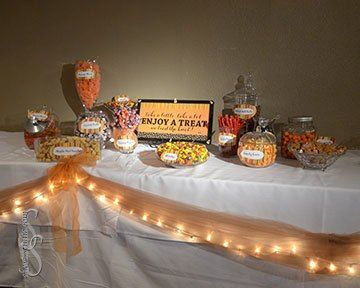 Wedding Candy Bar Candy Buffet Fall Themed With Purple
