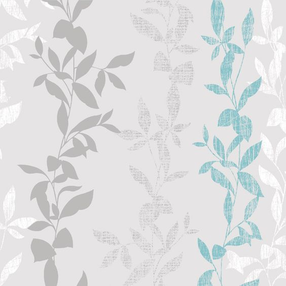 Papier peint vinyle graine sur intiss feuilles bleu for Pochoir castorama