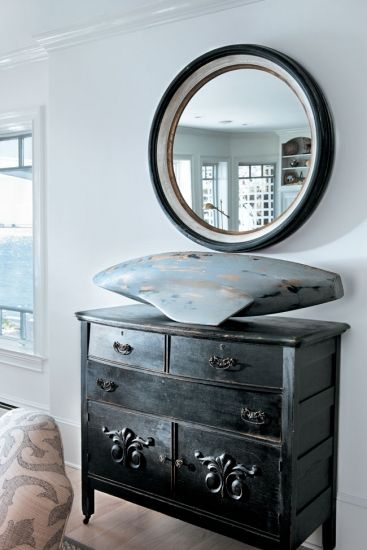 black painted chest of drawers