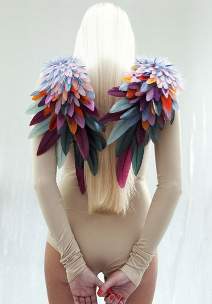 Make some colorful epaulettes. Foam feathers in different sizes can be glued or…
