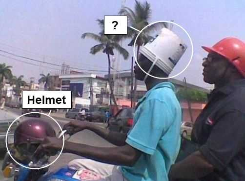 Why use a helmet when you have a perfectly good bucket?