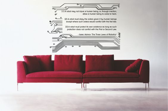 Science art Isaac Asimov The Three Laws of Robotics and circuit quote vinyl wall decal. $45.00, via Etsy.