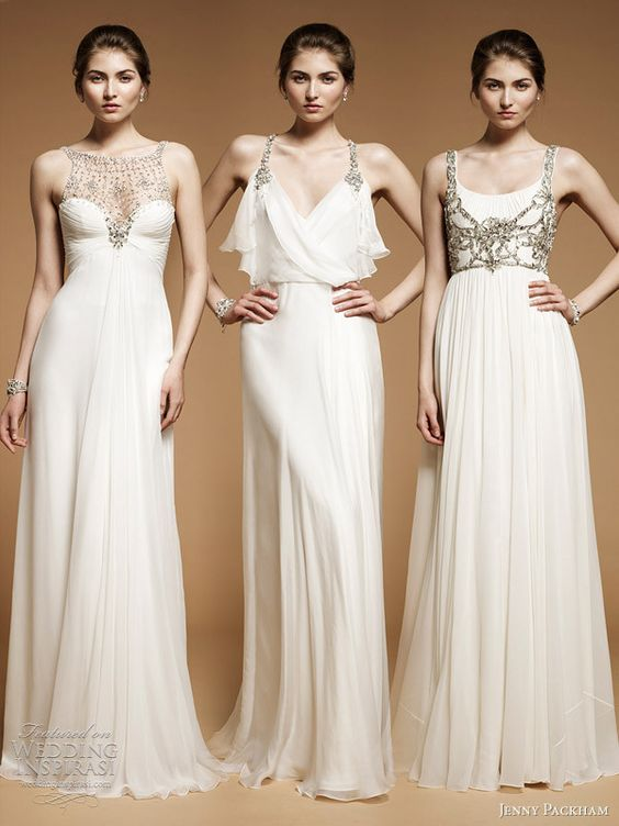 Wedding Dresses by Jenny Packham - She's my favorite … the one in the middle is my DREAM DRESS.