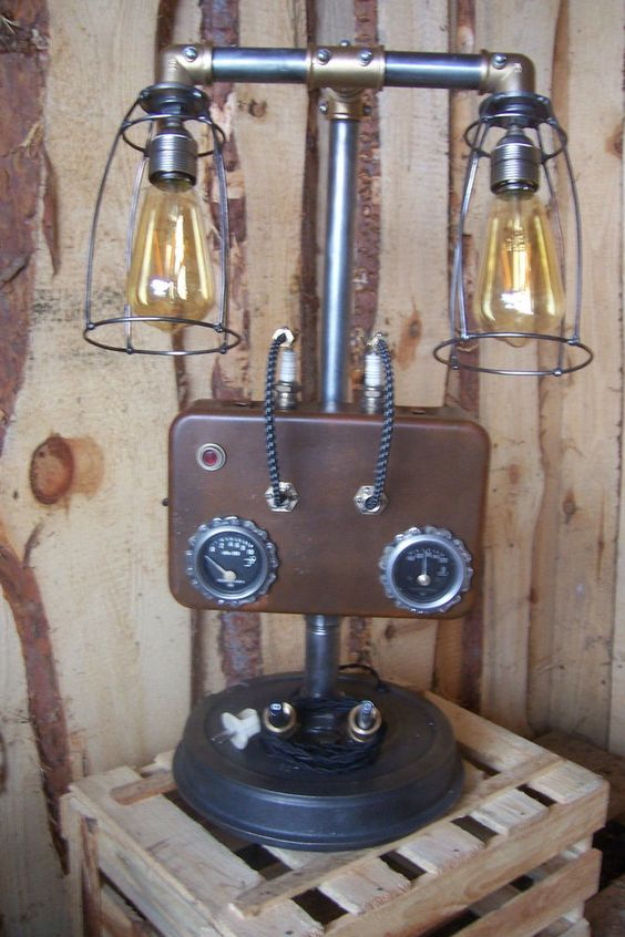 steampunk lampe industrial art machine age salvage steam gauge light nobby pinterest kunst. Black Bedroom Furniture Sets. Home Design Ideas