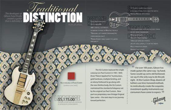 Flow and direction of image towards headline and body copy. Font and size contrast. Use of patterns and colors.