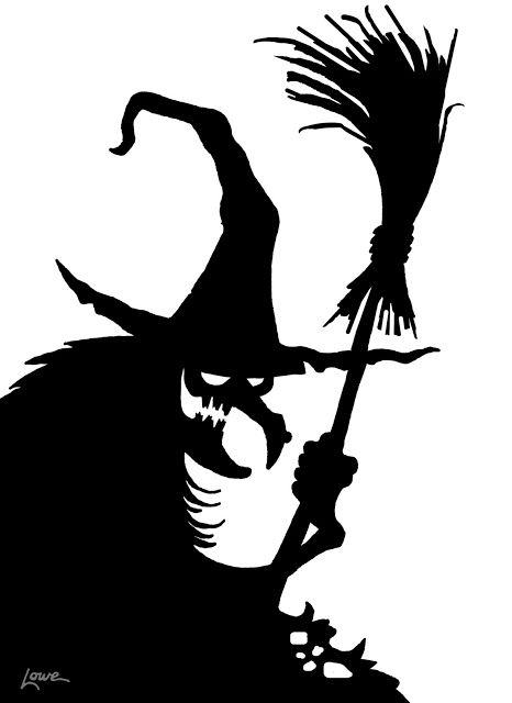 DAVE LOWE DESIGN the Blog: Witch Window Silhouette Printable. Plus other free Printable's including cauldron, black cat, and other witches