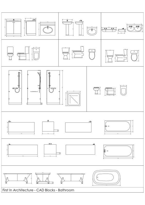 Fia bathroom cad blocks 01 pomoce projektowe pinterest for Autocad bathroom blocks