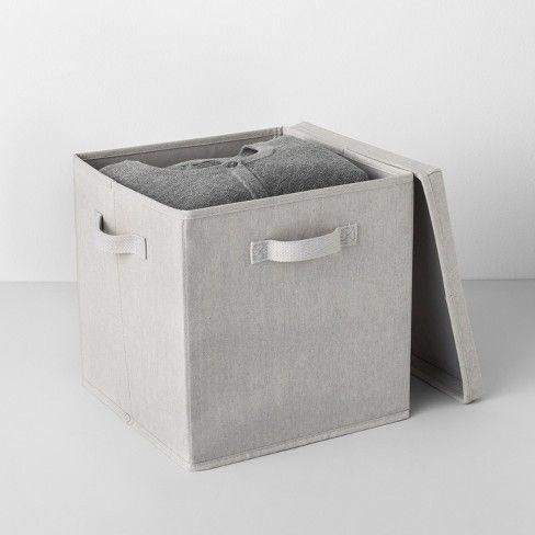 13 X13 X13 Deep Fabric Bin With Lid Light Gray Made By Design Fabric Bins Made By Design Fabric Storage Bins