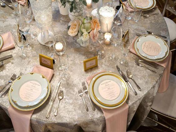 BBJ Linen - Birch  Gold, silver, blush, ivory tablescape