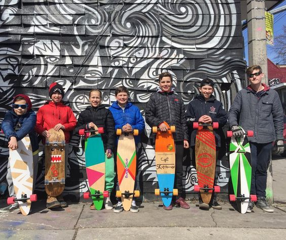 March Break is a great time to build up a new board for the season. @greenwoodstudio guided this crew through the process of pressing cutting and painting their skate and longboards. They turned out sick! #longboardliving #greenwoodstudio #customskateboard #customlongboard #diyskate #skateanddiy