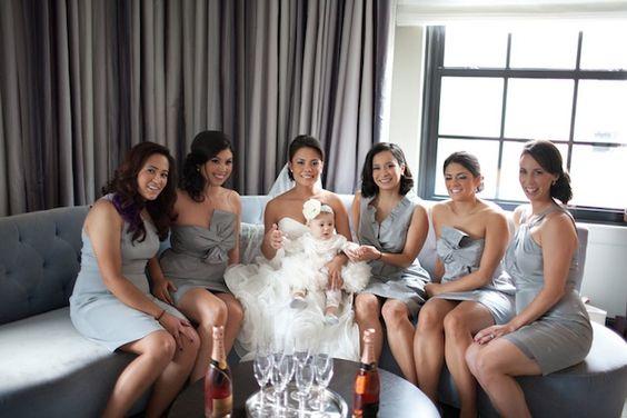 Bridesmaids  - Grey and Orange Modern Wedding in Washington DC