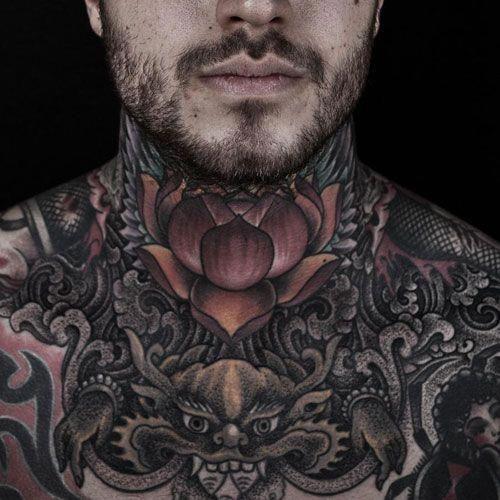 Flower Tattoos Men Flowertattoosformen Full Neck Tattoos Neck Tattoo For Guys Best Neck Tattoos