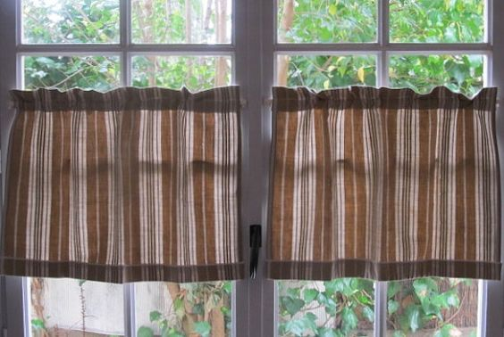 French Ticking Curtains Pair Cafe Curtains by HatchedinFrance