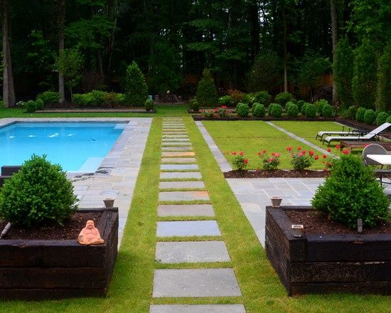60 39 s ranch home remodel love this modern backyard design for Modern pool landscaping