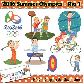 Olympics Clip art set contains images representing the 2016 Summer Olympics Sports in Rio De Janerio.The set is versatile and perfect for Olympic as well as sport related projects.The set includes: - Archery- Basketball- Cycling- Diving- Golf- Gymnastics- Rio logoYou will get 3 copies of each image (21 images in total) in the following formats: black and white; colored with colored outlines and colored with black outlines.All images are in PNG format and are 300dpi. $3.00
