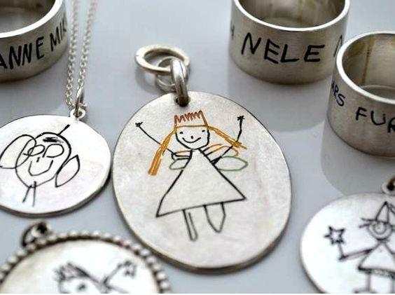 Schlüsselanhänger, gross, bunt, m Kinderzeichnung  von MIRANDA Jewels auf DaWanda.com