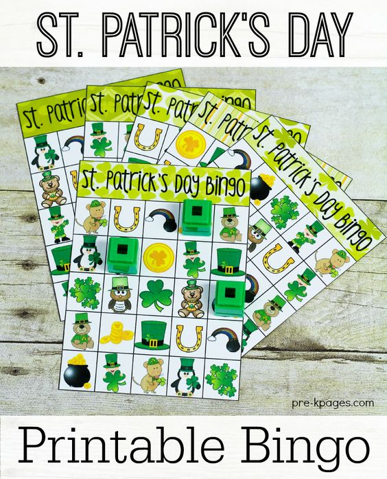 Printable St. Patrick's Day Bingo via Pre-K Pages - Great for classroom parties or fun at home!