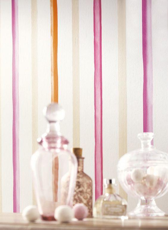 Papel pintado rayas efecto acuarela Gaulan