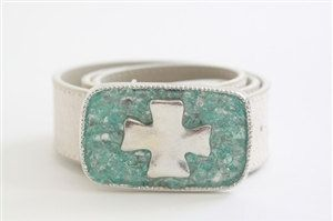 Silver Cross With Aqua by swankybelts on Etsy, $185.00