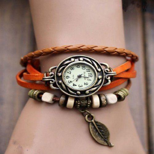 2014 Susenstore Womens Bracelet Vintage Weave Wrap Quartz Leather Leaf Beads Wrist Watches