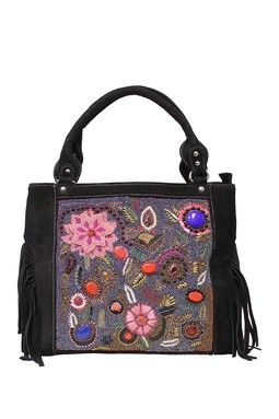 Black Suede Fringed Beaded Hand-Embroidered Bag