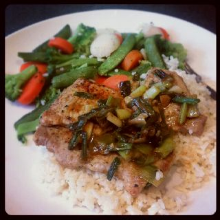 Thin cut pork chops pan fried with green onions and garlic, finished with a mustard Jack Daniel's Tennessee Honey whiskey
