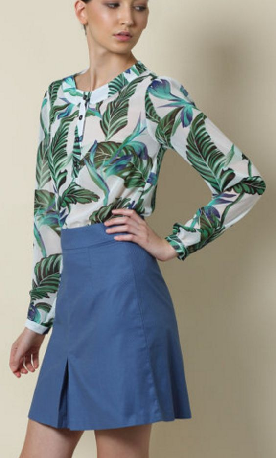 Sheer Long-Sleeve Blouse in Green and White Tropical Print