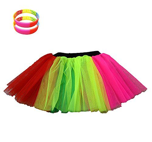 80/'s ACCESSSOIRES COSTUMES SKIRT /& LEGWARMERS NEON TUTU FANCY DRESS 3LAYERS UV