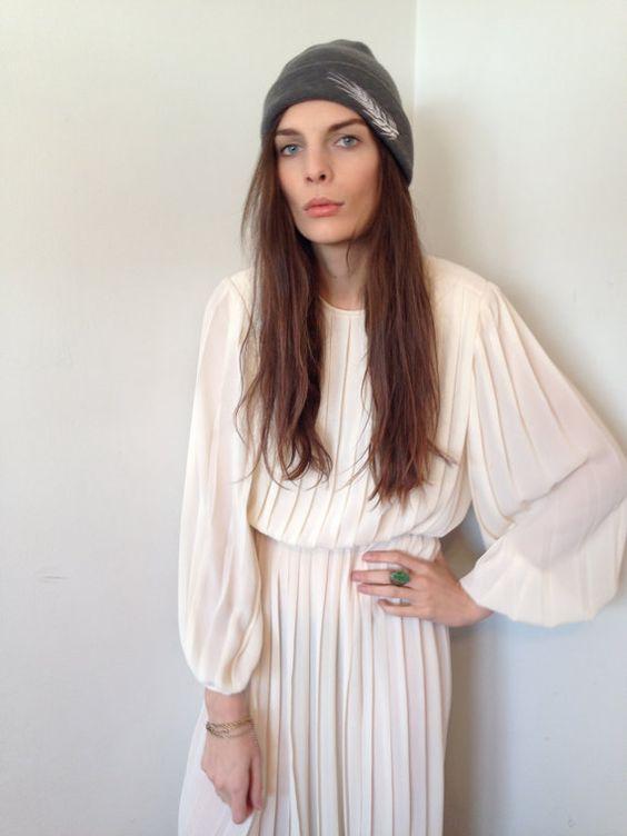 Pleats for days. Sheer White Vintage Dress - $15