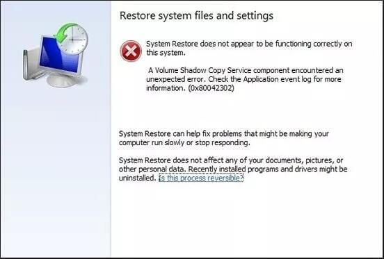 How To Fix System Restore Error 0x80042302 Top 4 Solutions With