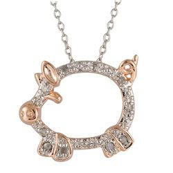@Overstock - This adorable pig critter pendant is set with 10 sparkling white diamonds. Crafted of fine sterling silver with a highly polished rhodium finish, the necklace includes a matching 18-inch cable chain., $42.99