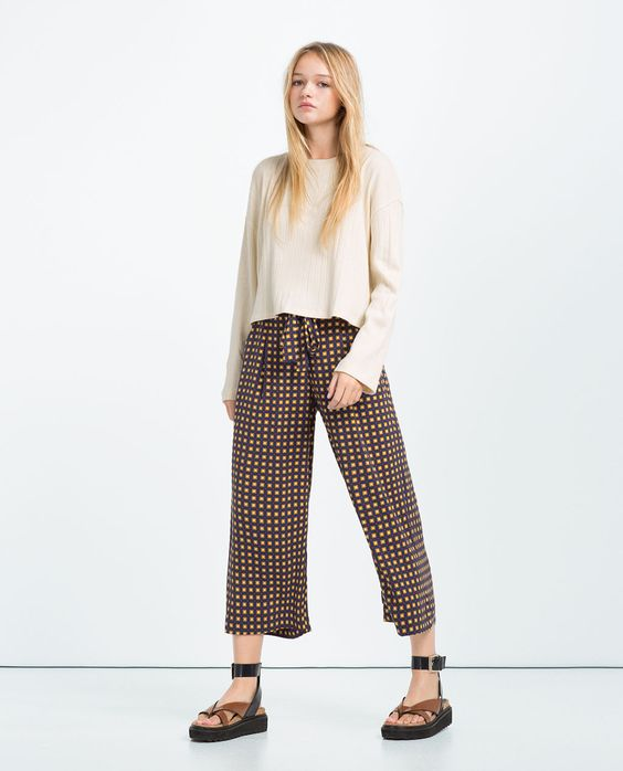 CROPPED FLOWING TROUSERS from Zara