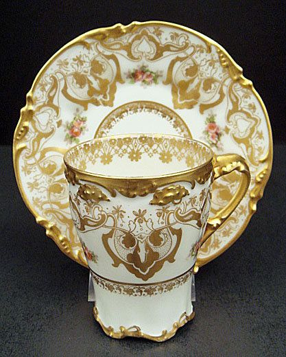 Elegant Antique Pouyat Limoges Chocolate Cup & Saucer