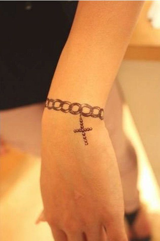 Henna Wrist Bracelet: Cross And Chain Tattoos For