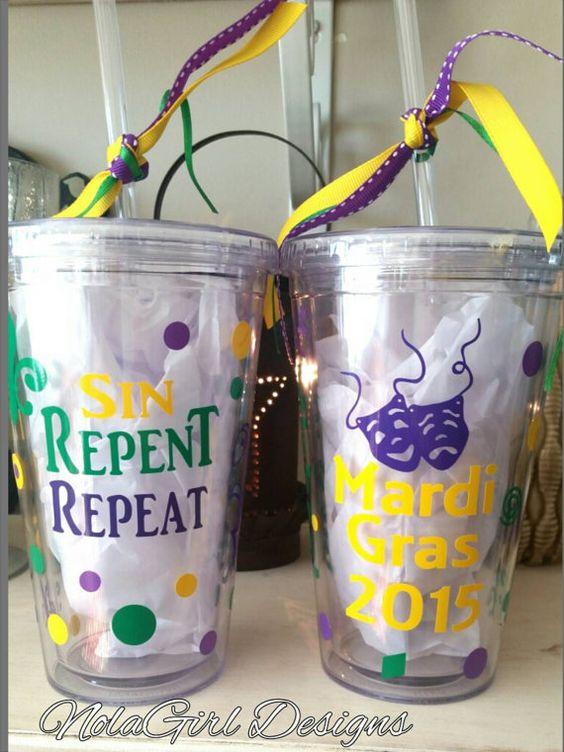 Mardi Gras Cup Nola Parade Drink Tumblers Vinyl