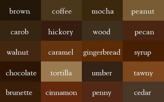 Diccionario de colores. Me parece un poco molesto cómo la mayoría de estos colores están basados en materiales de la tierra, lo que significa que no puedo usarlos en mi ópera espacial porque no podría haber pan de jengibre en el espacio.
