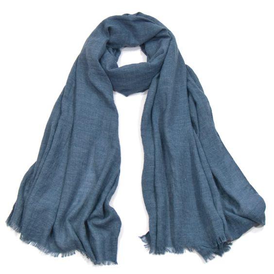 Foulard chèche bleu gris lin coton premium - Foulard/Foulard chèche - Mes Echarpes