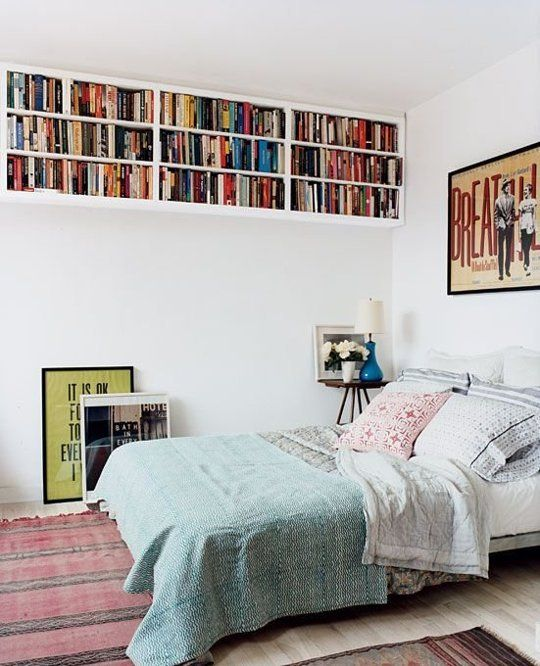 For even more storage, consider hanging shelves up high that run the length of the room. You won't loose any floor real estate at all, and y...: