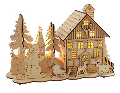 White Led Lights, Wooden Houses And Christmas Decorations