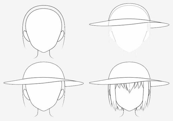 Từng bước vẽ mũ chống nắng