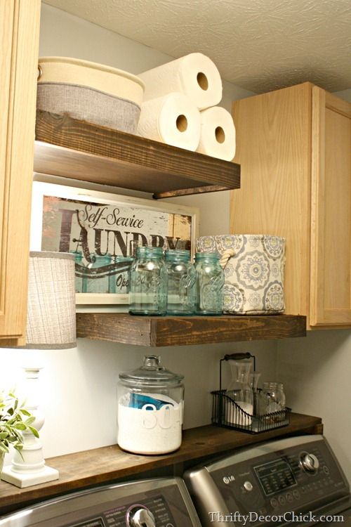 DIY Wood Shelving Laundry Storage
