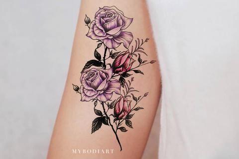 Beautiful Purple Watercolor Flower Arm Tattoo Ideas For Women