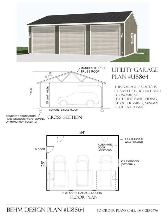 1292 1 38 X 34 Garage Design Garage Plans Garage Plan