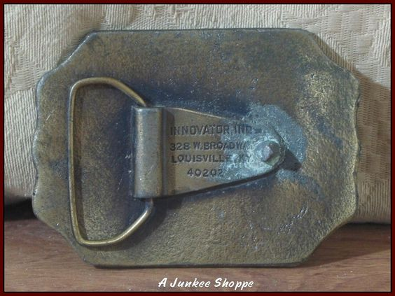 HARLEY DAVIDSON Unlicensed 1960's Brass Belt Buckle Marked Innovator Inc.   http://ajunkeeshoppe.blogspot.com/