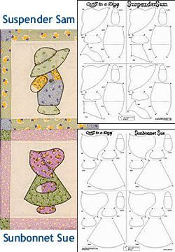 Sunbonnet Sue (6 figures per panel) &/or Suspender Sam (6 figures per panel) Quiltsmart Fusible Interfacing<br>1 Panel  Fits on 10 in. Block