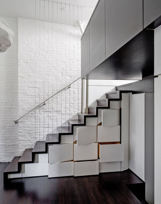 Stair Storage Cabinets And Exposed Brick On Pinterest