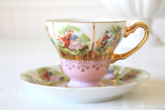 Rare Antique Handpainted Royal Vienna Beehive Mark Fragonard Courting Couple Fine Porcelain Love Story Pattern Teacup and Saucer Duo