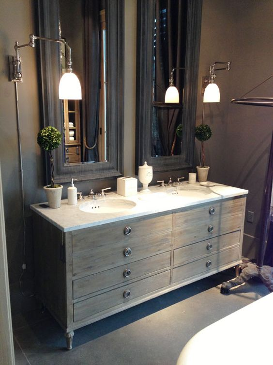 How High Should Vanity Lights Be Hung : Grey, Vanities and Sinks on Pinterest