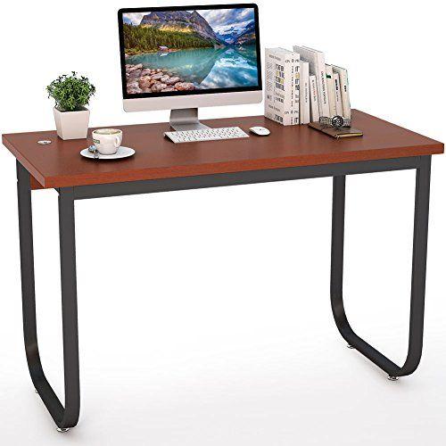 Tribesigns Computer Desk Home Office Desk Black Teak Modern